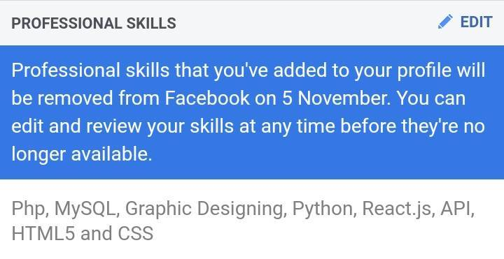 Facebook Removing Professional Skills