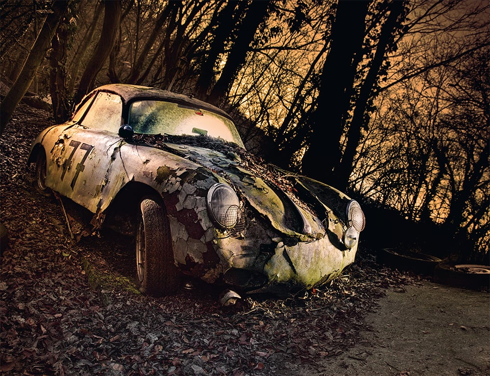 An abandoned 1950 Porsche 356 photographed by Dieter Klein and compiled into his book, Lost Wheels