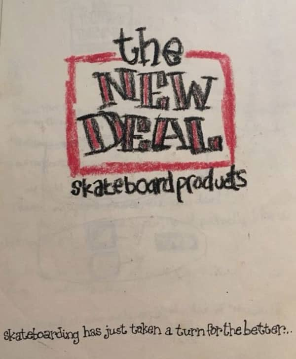 The original hand-drawn logo for New Deal Skateboards in the 90s.