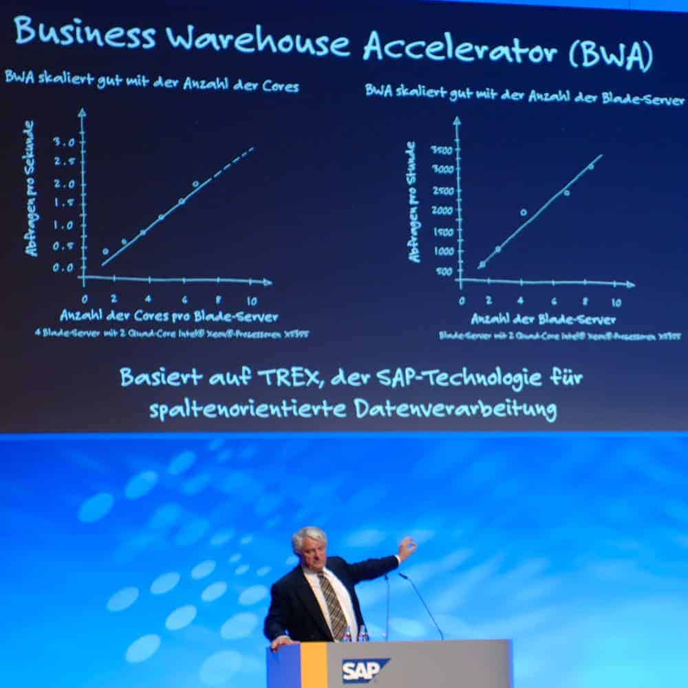 Professor Hasso Plattner, SAP: Hana, the successor to Business Warehouse Accelerator based on Trex and In-memory Computing [SAP World Tour 2009 Mannheim, Germany]