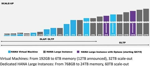 Hana on Azure: the greatest variety on the market. Azure offers Hana-certified systems with a multitude of memory sizes.