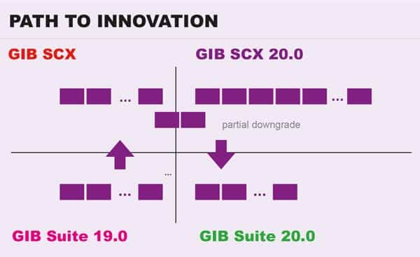 SCX takes center stage: From 2020 onward, GIB will only develop on S/4 and in the new suite SCX. Customers who are planning to migrate after 2020 will still be able to partially benefit from new innovations.