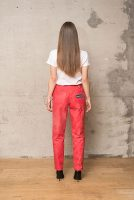 techno red mat coated jeans