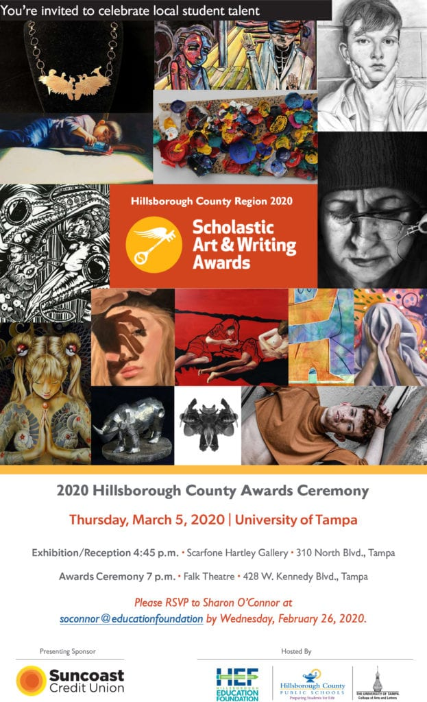 Invitation for the 2020 Scholastic Arts & Writing Awards