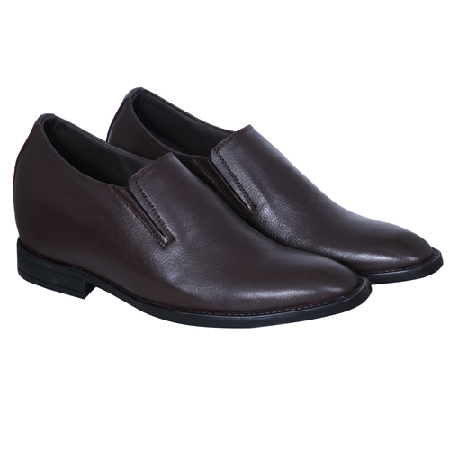 Elevato Height Increasing Brown Slip on Shoes 3 Inches