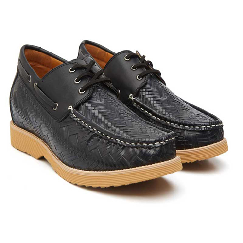 Elevato Height Increasing Black Casual Shoes