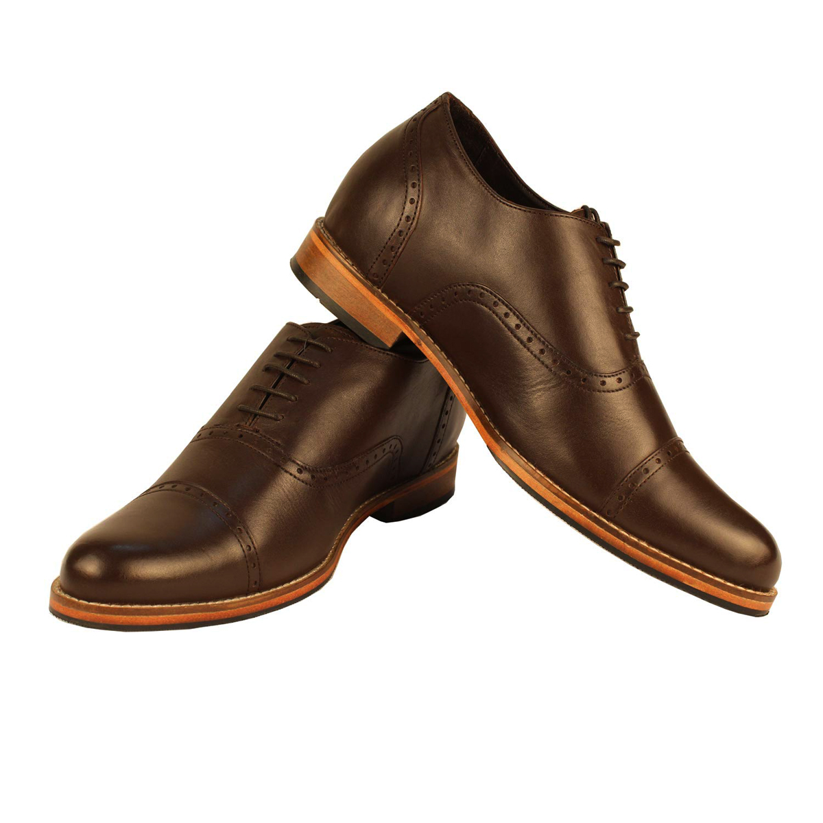 Elevato Height Increasing Brown Oxford Shoes