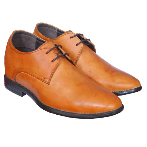Elevato Genuine leather Tan Height increasing shoes – 3 inches