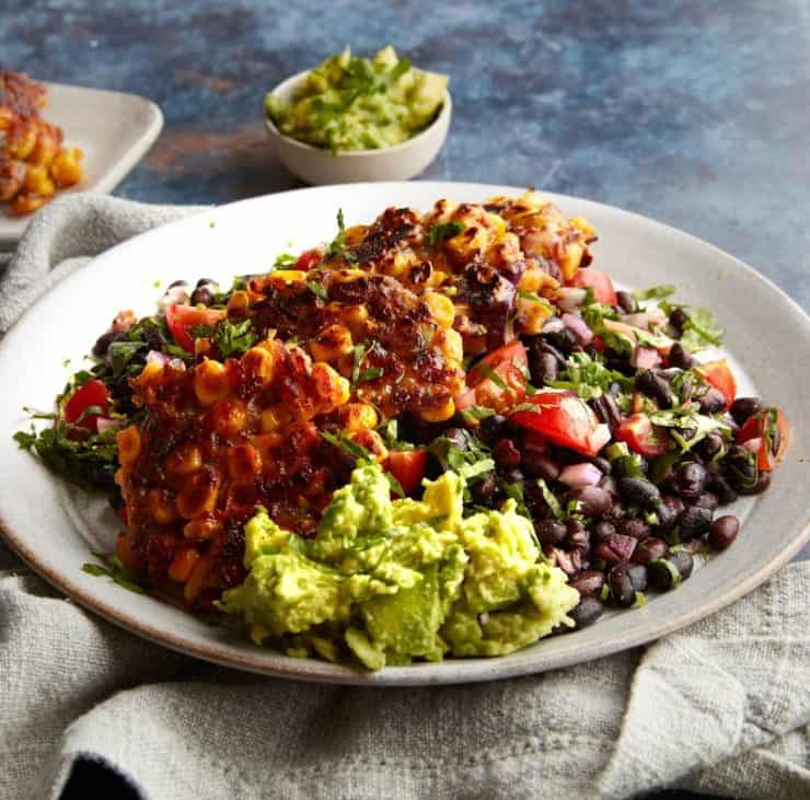 black bean fritters with avocado