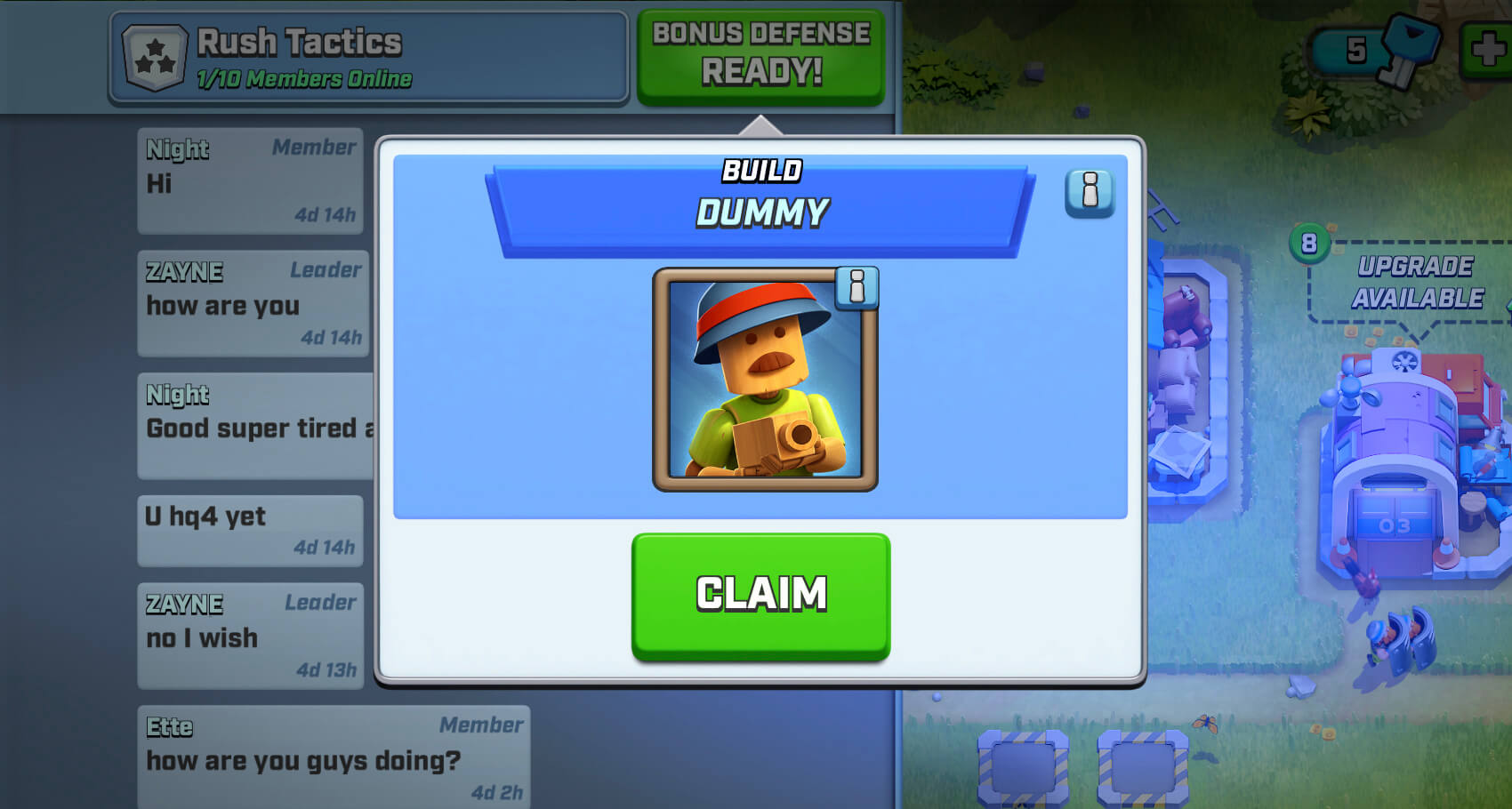 get bonus defense card by joining a team in rush wars