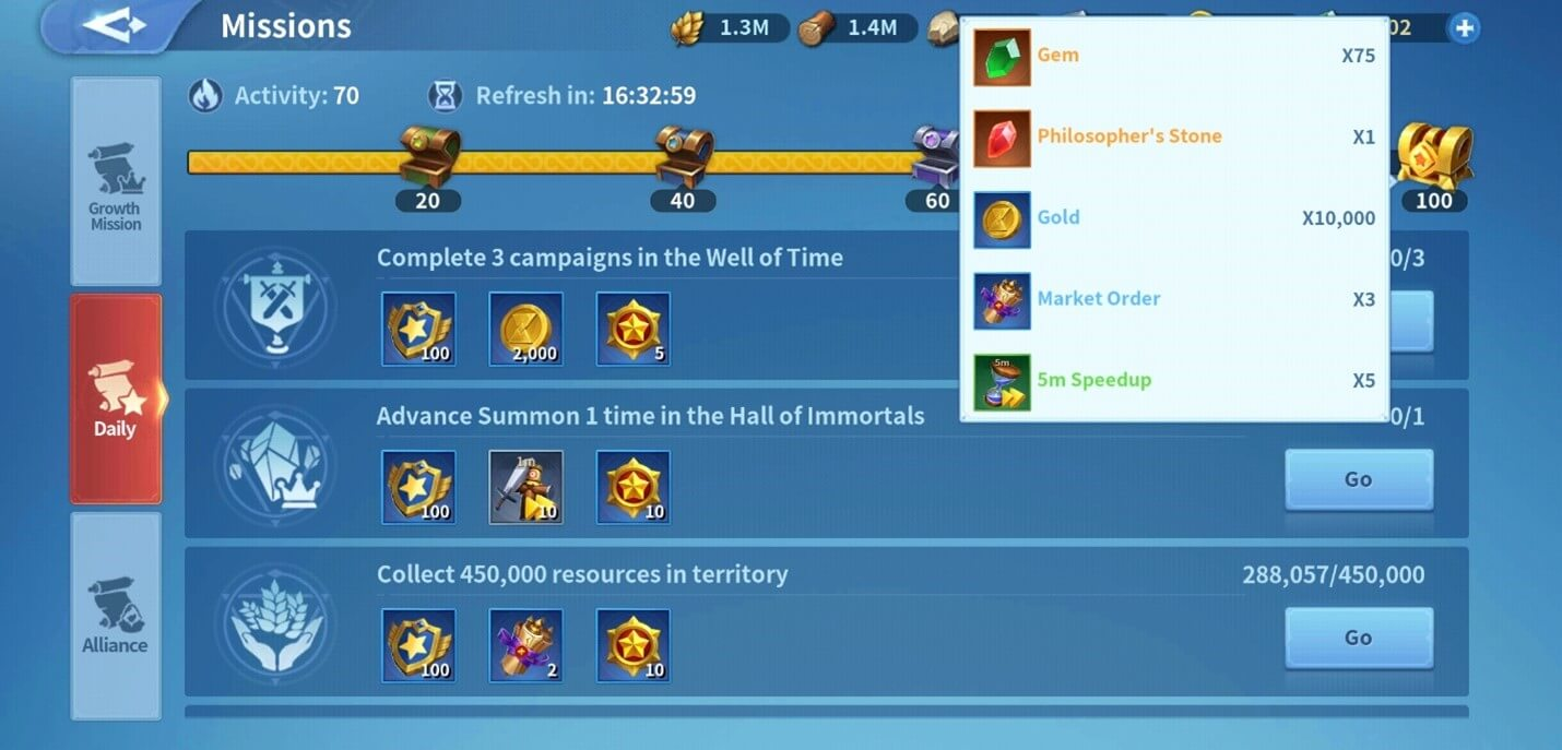 Daily Missions in Inifinity Kingdom