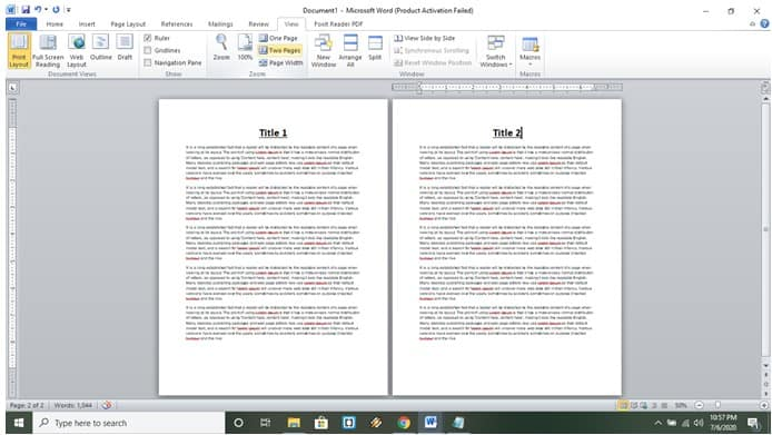 two page view ms word ducument