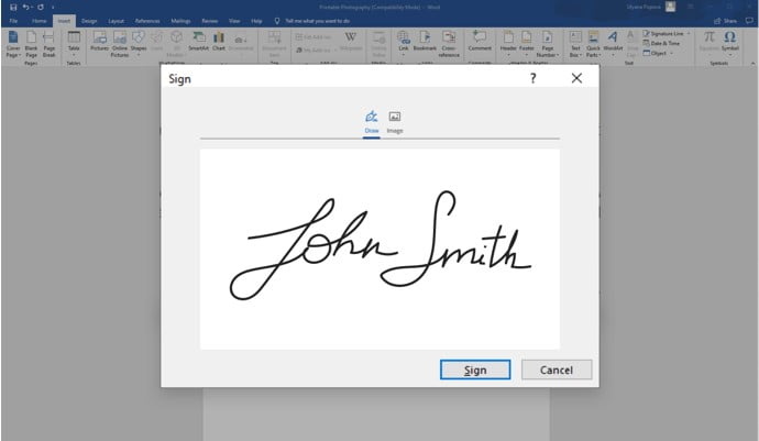 Signature Setup window