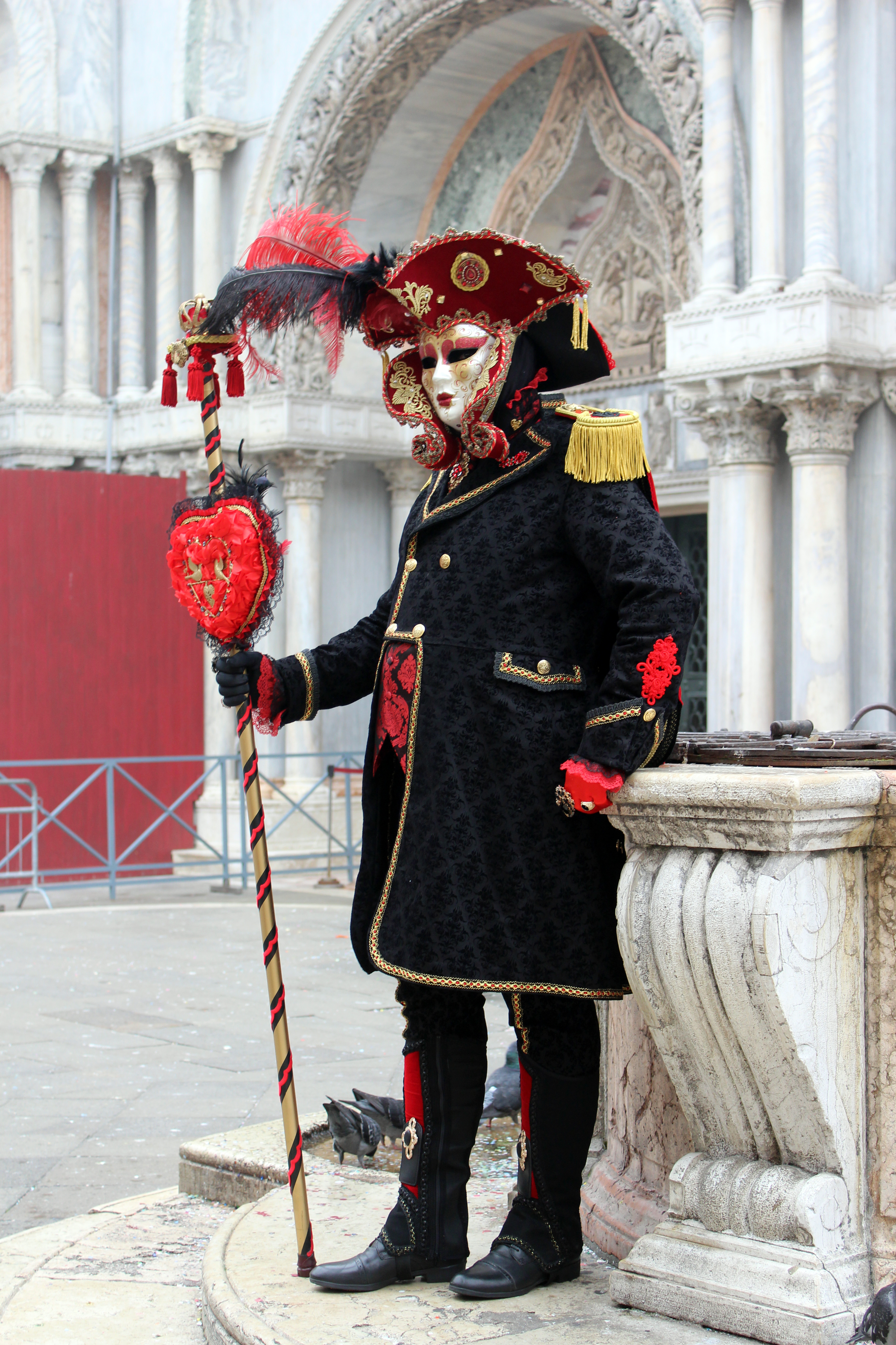 Red and Black Masquerade in Venice Italy during Carnevale