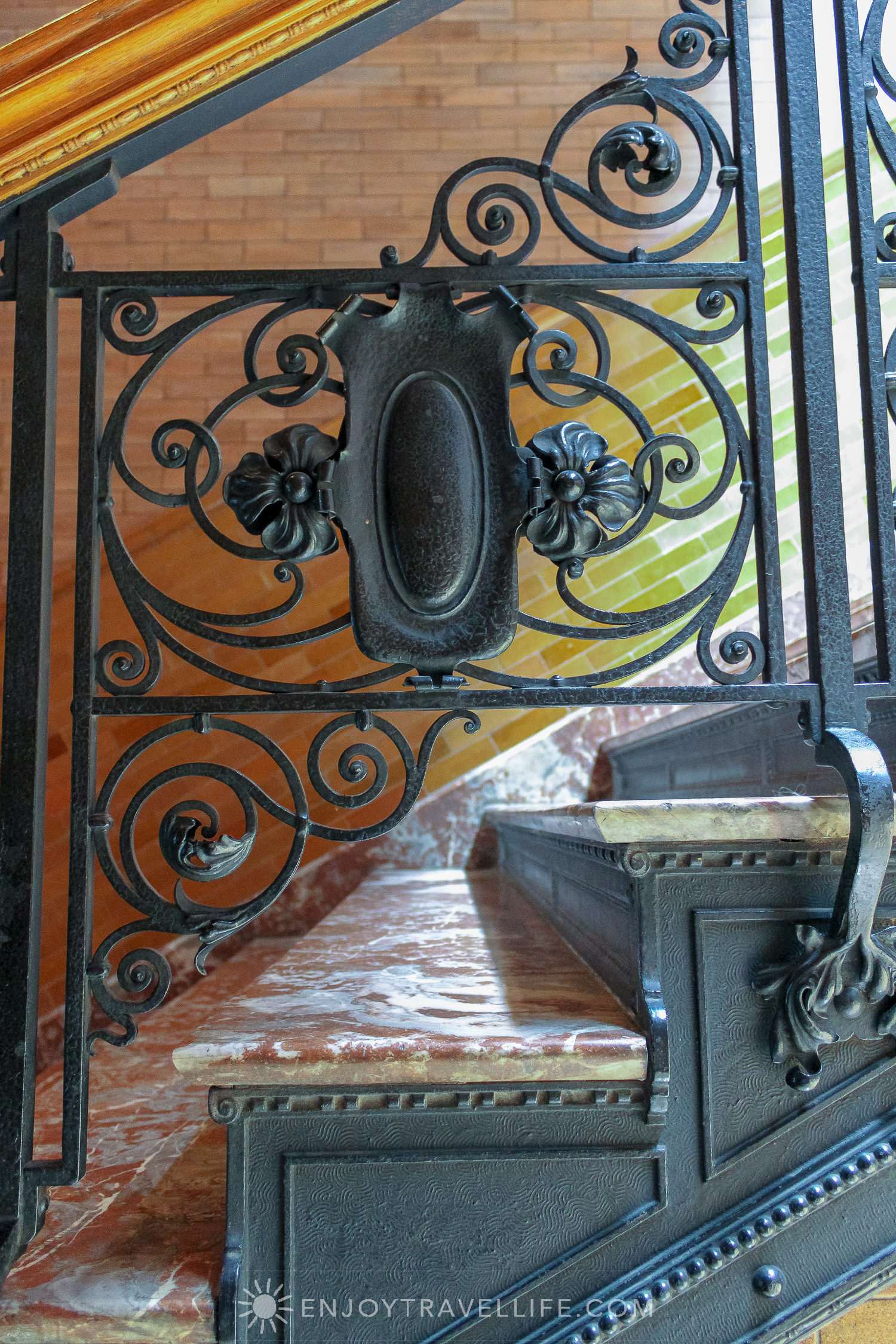 The Bradbury Building Los Angeles - Hollywood superstar and architectural landmark ironwork on marble stairs