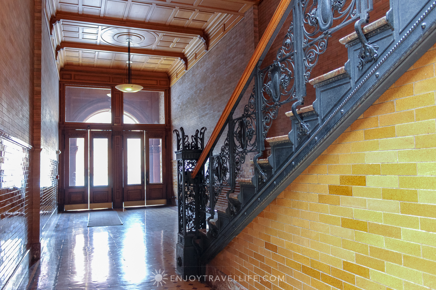 The Bradbury Building Los Angeles - exit and stairway with ironwork