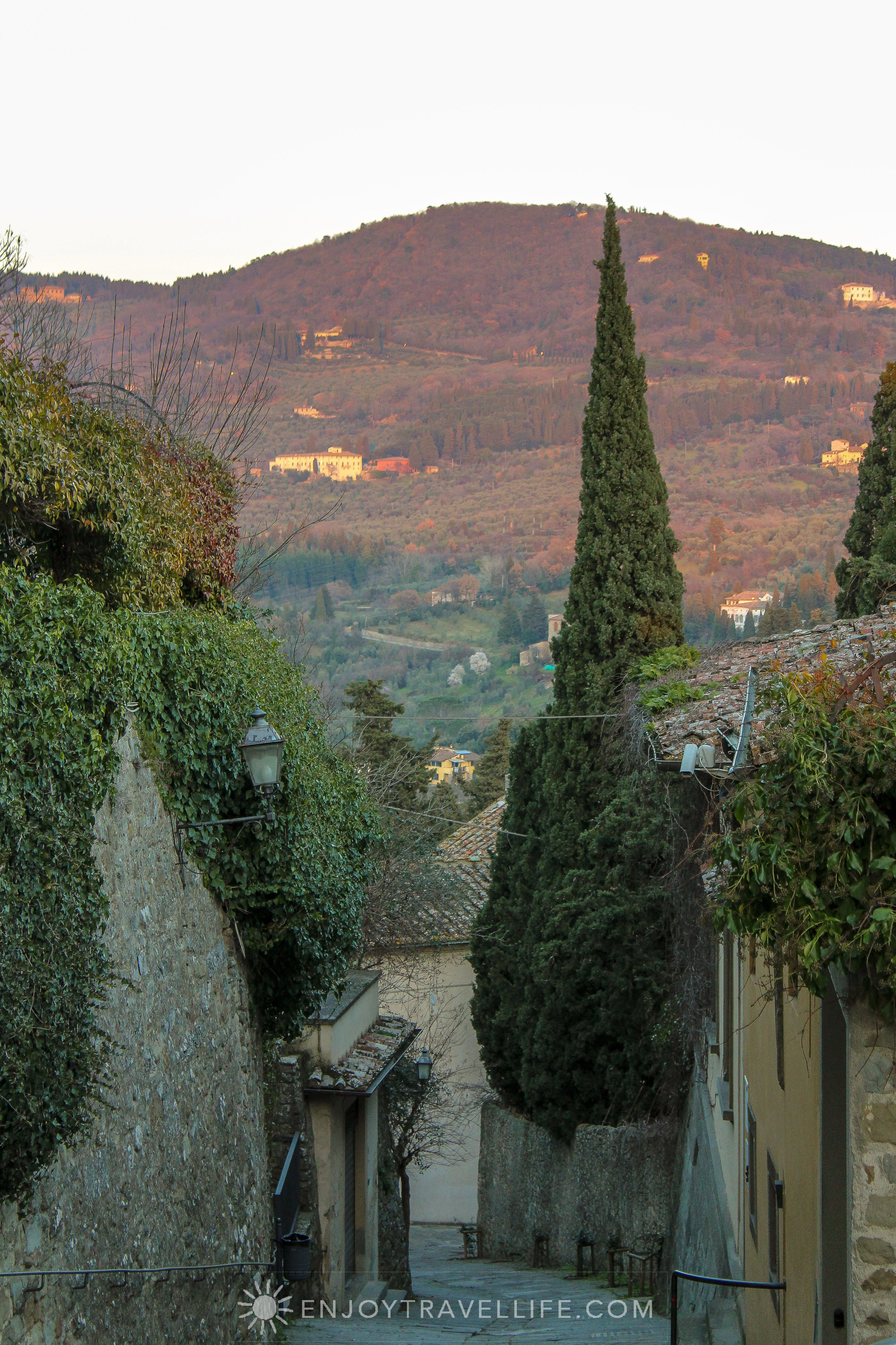 Sunset over Florence Italy - Fiesole street view