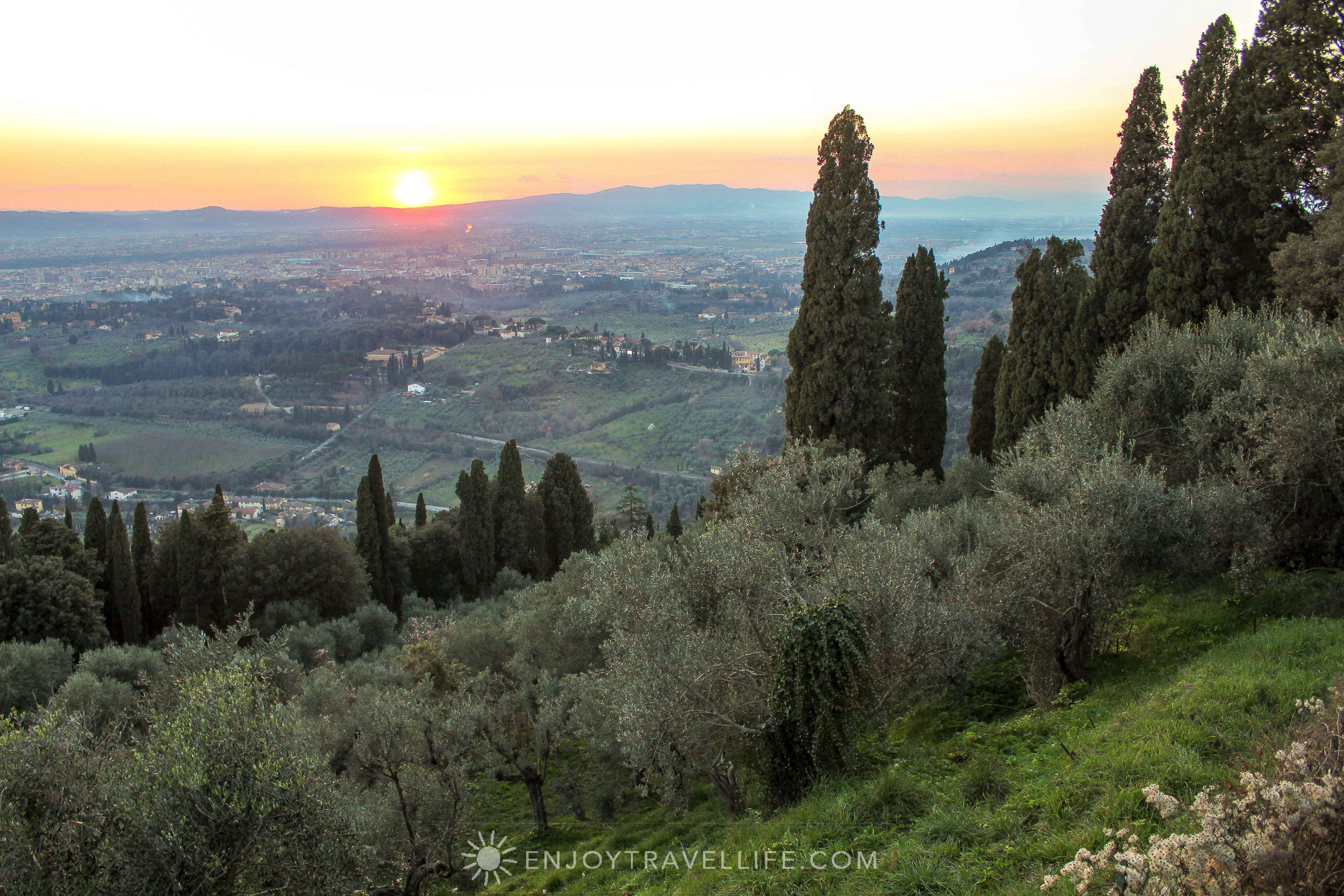 Sunset over Florence Italy - Fiesole Tuscan view