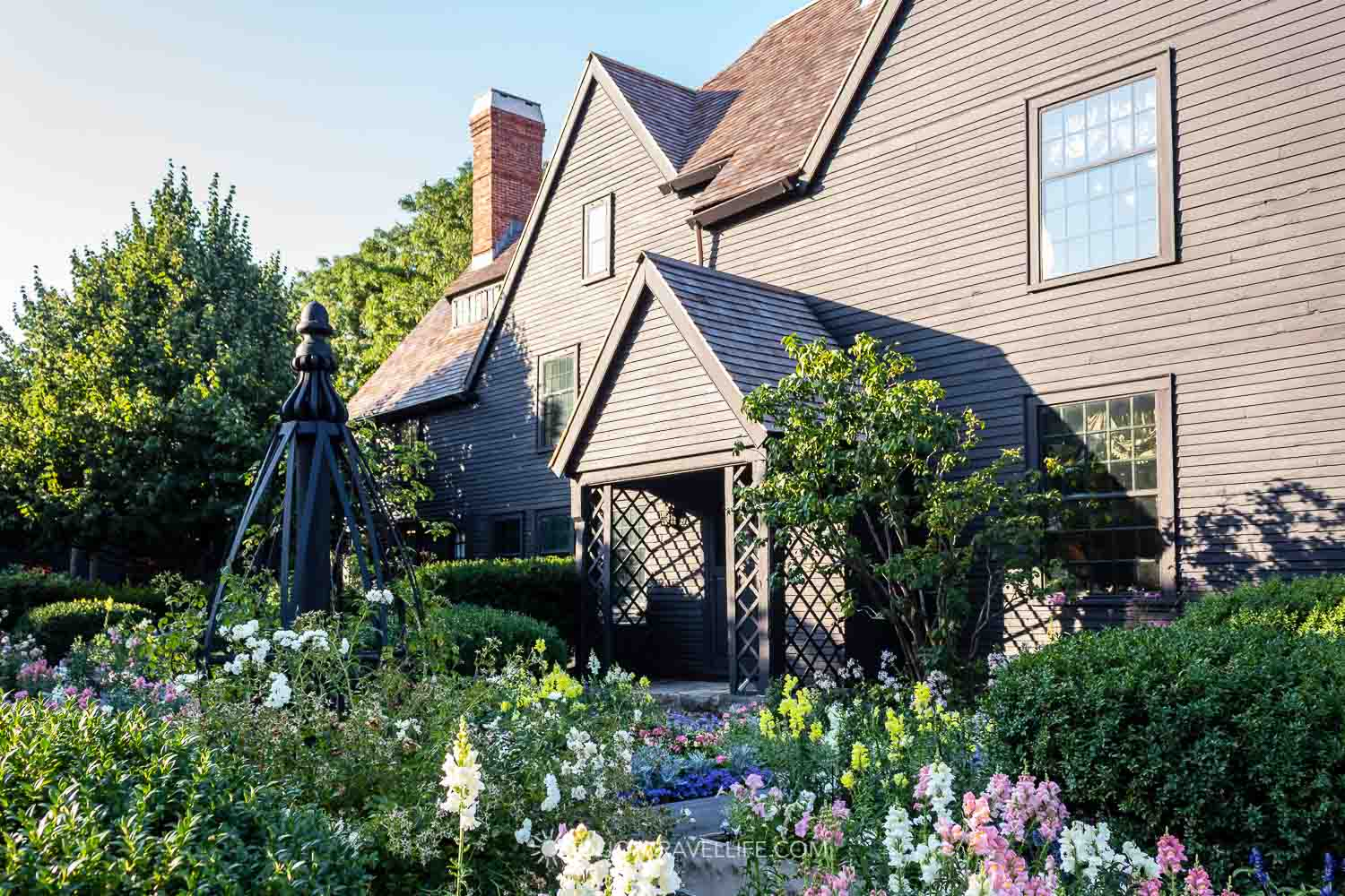 Seaside gardens in bloom at the historic House of the Seven Gables in Salem Massachusetts