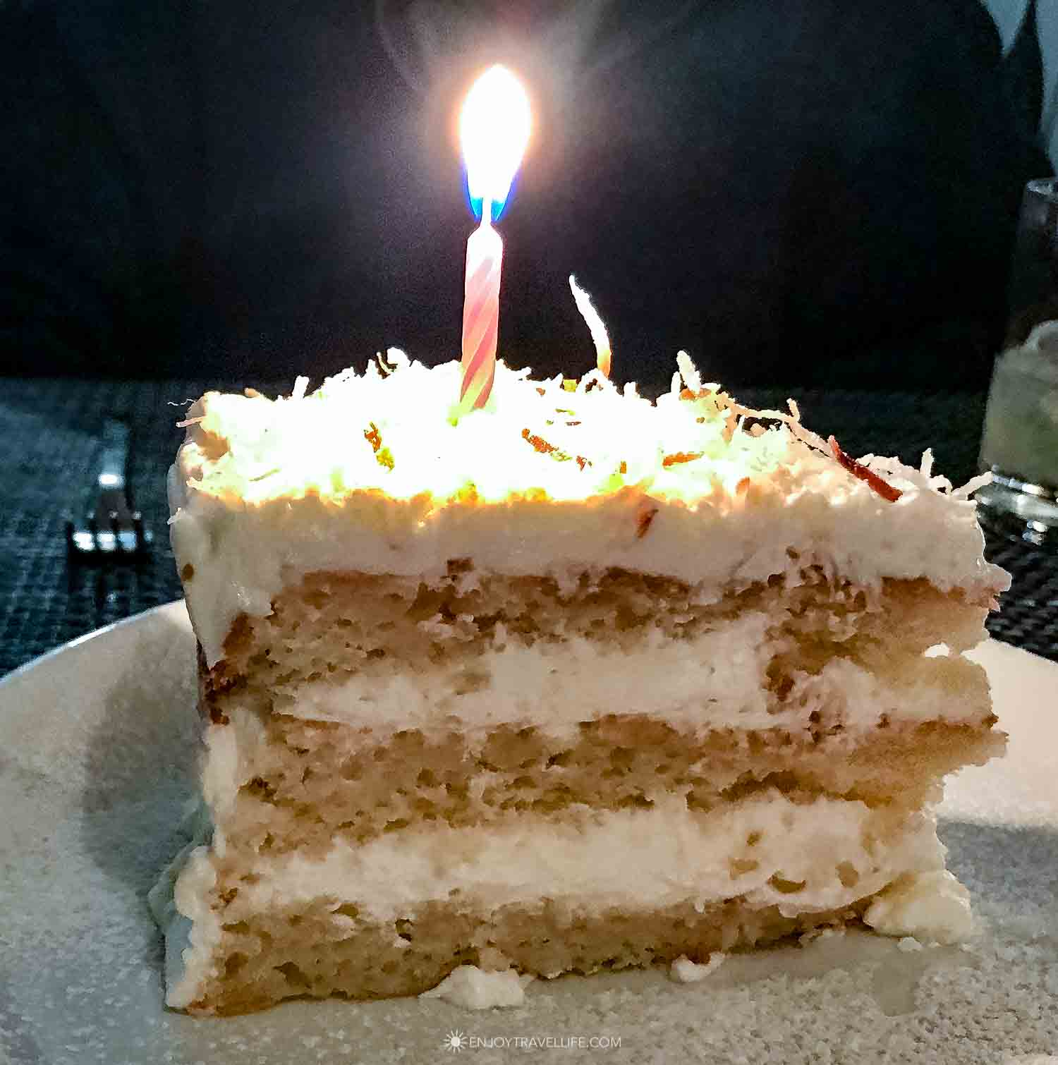 coconut birthday cake at il Molo Boston