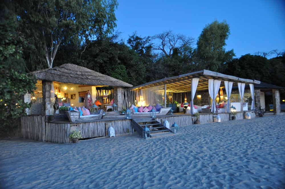 Beach bar at a romantic hotel in Tanzania