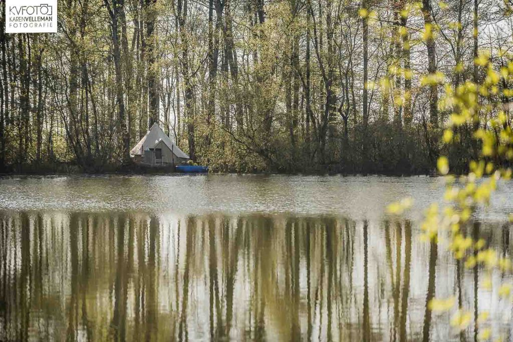 Tent by the river in Papenvoort - Drenthe, The Netherlands