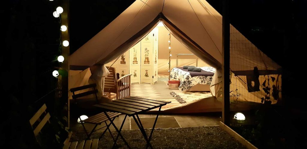 Glamping tent   cottages and cabins in nature
