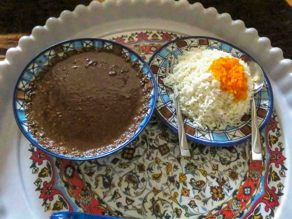 Fesendjoon from Iran, a chicken stew in a sauce of walnut and pomegranate syrup