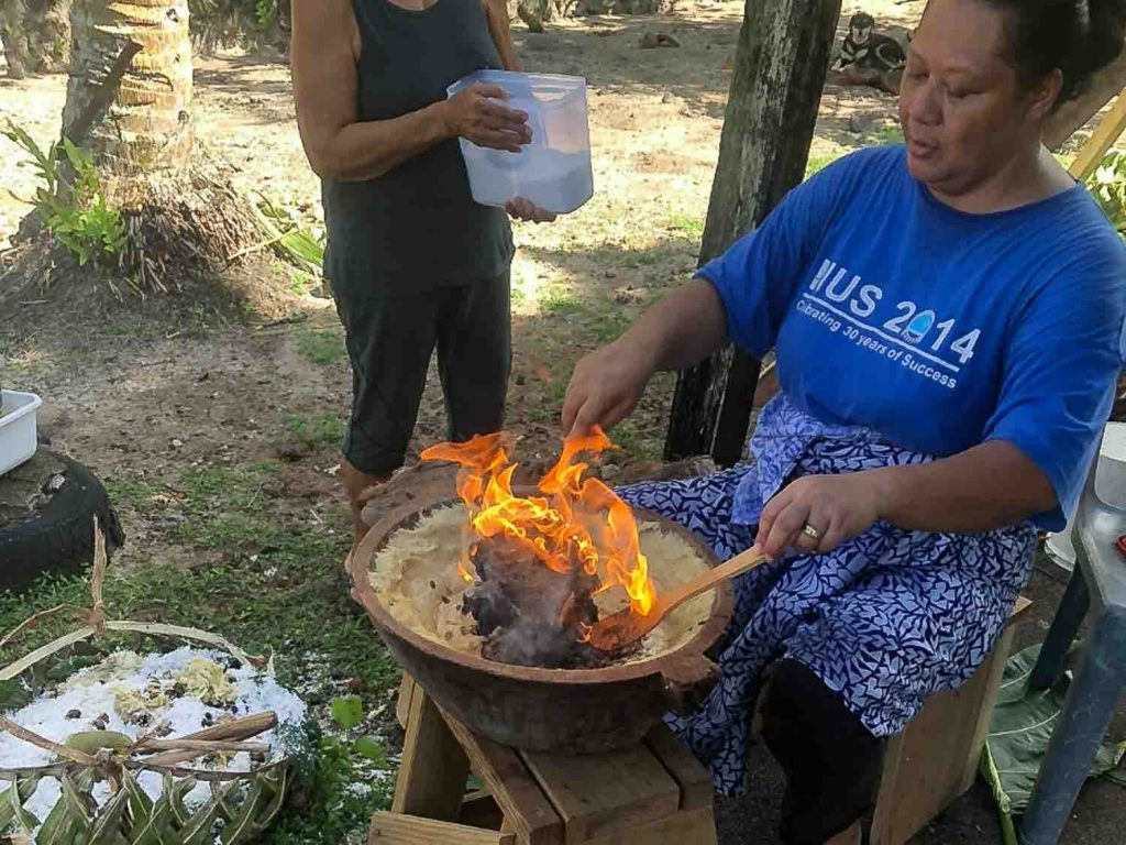 Taufolo, a dish made in Samoa from fire-grilled breadfruit