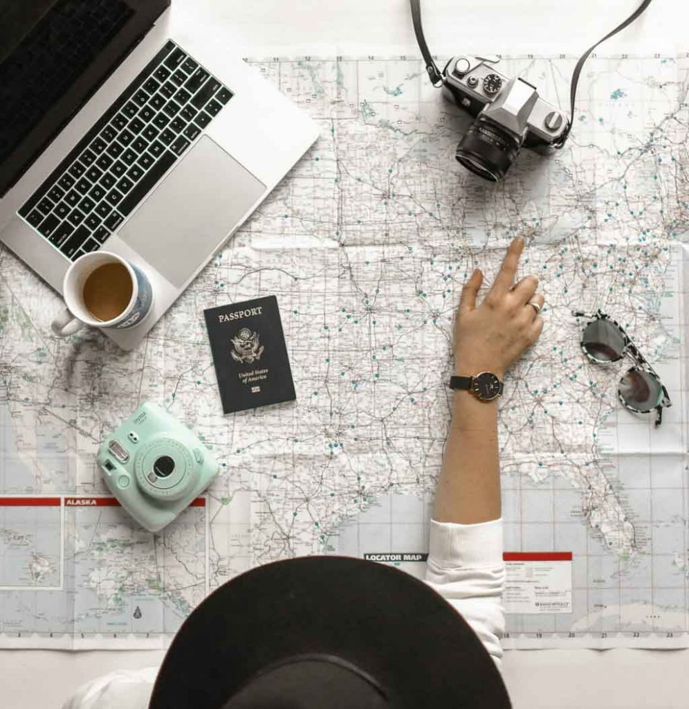 Planning a trip on a United States map