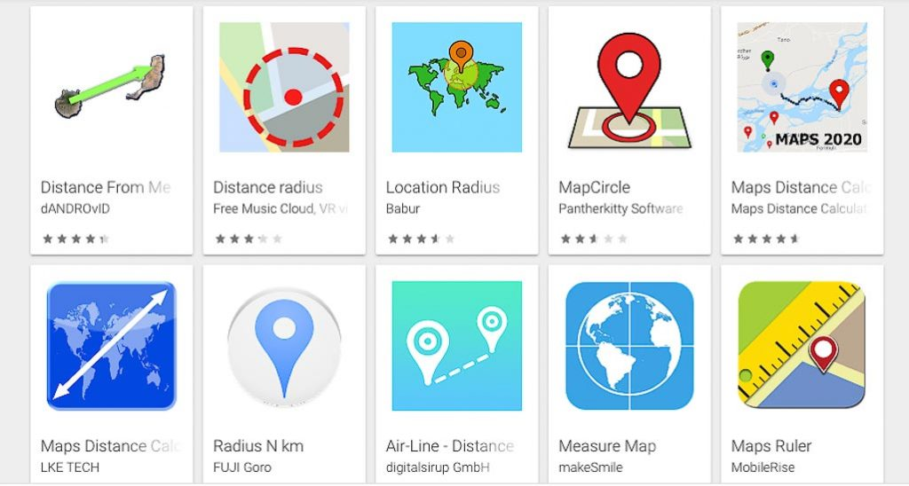 A variety of map radius tool icons shown on google play for android
