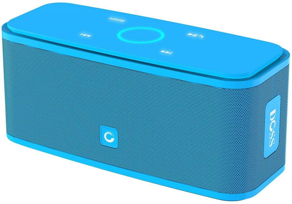 Blue DOSS SoundBox Touch Portable Wireless Bluetooth Speakers from Amazon.