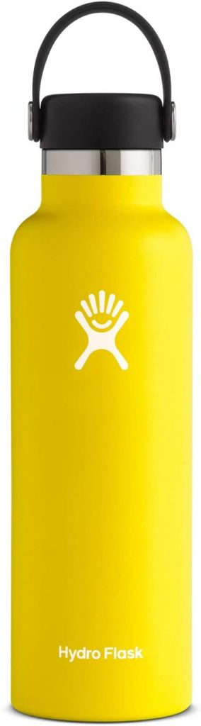A yellow, 21 ounce, Hydro Flask Standard Mouth Water Bottle, with Flex Cap from Amazon.