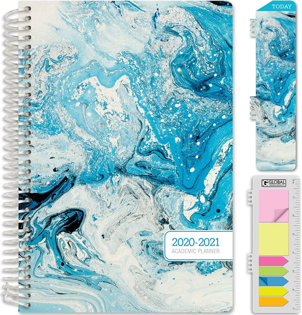 Blue, arbled, HARDCOVER Academic Year 2020-2021 Planner from Amazon.