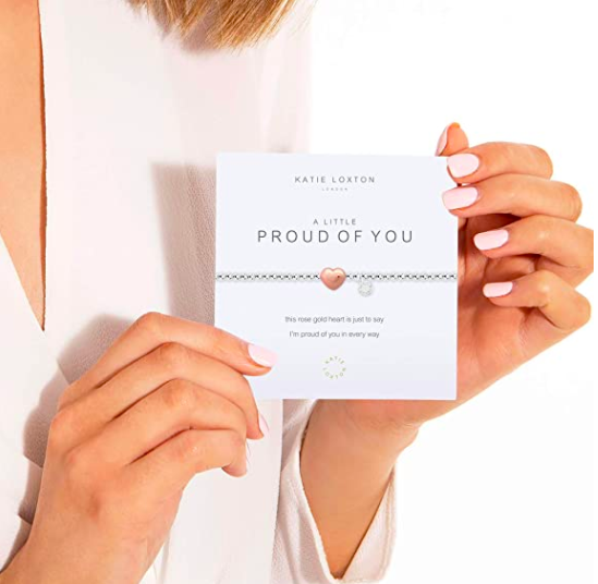 Katie Loxton A Little Proud of You Heart Silver Women's Stretch Adjustable Charm Bangle from Amazon.