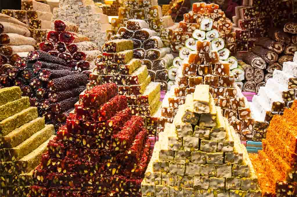 Stacks of a variety of different Turkish Delight candy (Candy of the world)