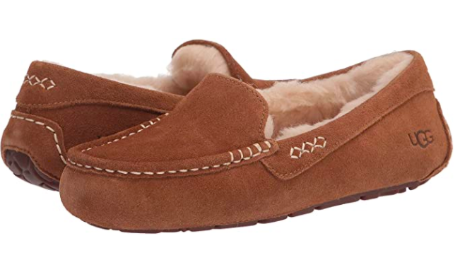 A chestnut brown pair of UGG Women's Ansley Slippers from Amazon.