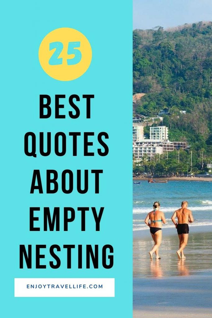 Pinterest Pin - Save for Later! 25 Empty-Nesting Quotes That Will Inspire You. Middle-age, athletic couple run together on the beach.