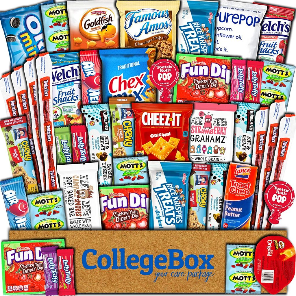 The College Box Care Box, filled with delicious snacks from Amazon.