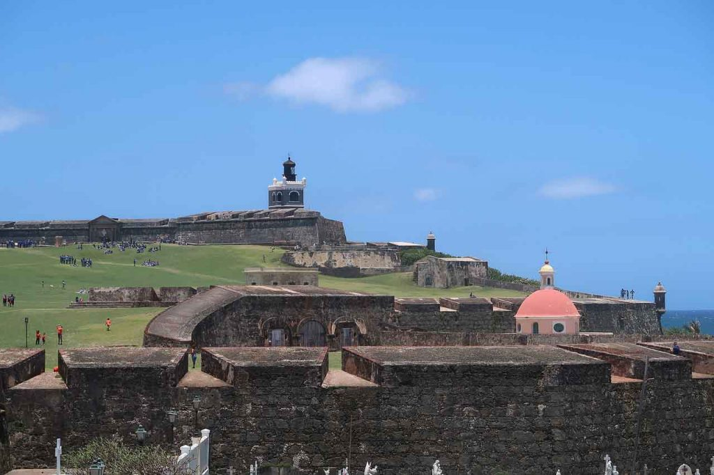 San Juan Puerto Rico, red dome and historic fort overlooking water