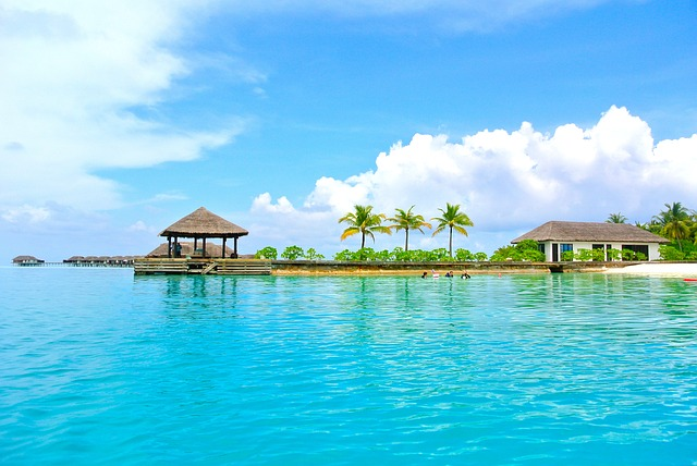 Overwater bungalows in a tropical paradise.