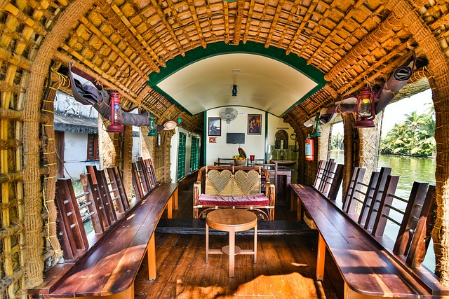 Well appointed houseboat on the river: A unique type of accommodation in India.