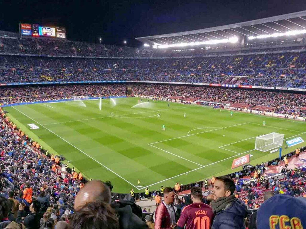 The playing field and fan stands at Camp Nou, Barcelona