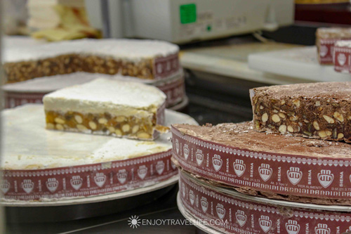 Slices and rounds of Panaforte on display.  .