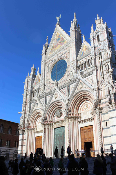 The ornate facade of the Siena Cathedral