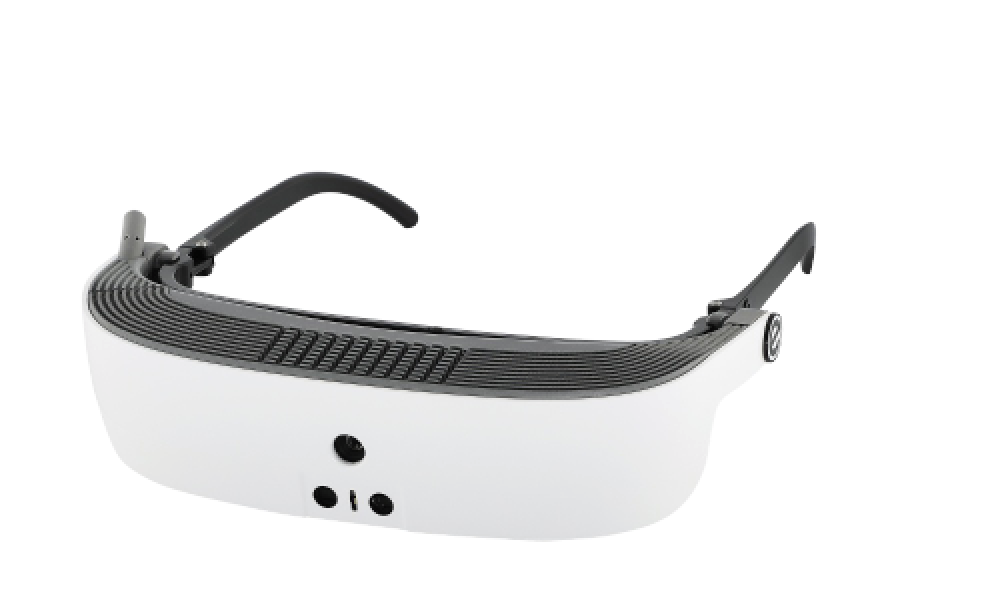 side view of eSight's low vision device
