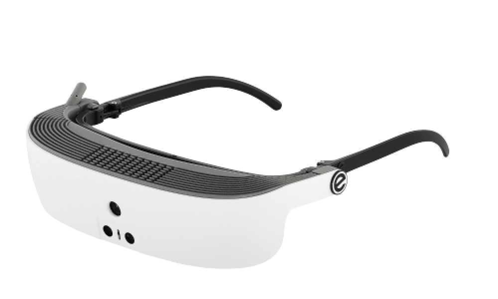 side view of eSight's low vision device, glasses for the visually impaired