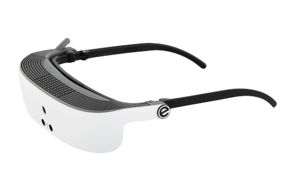 Side view of eSight eyewear's low vision assistive technology for the visually impaired