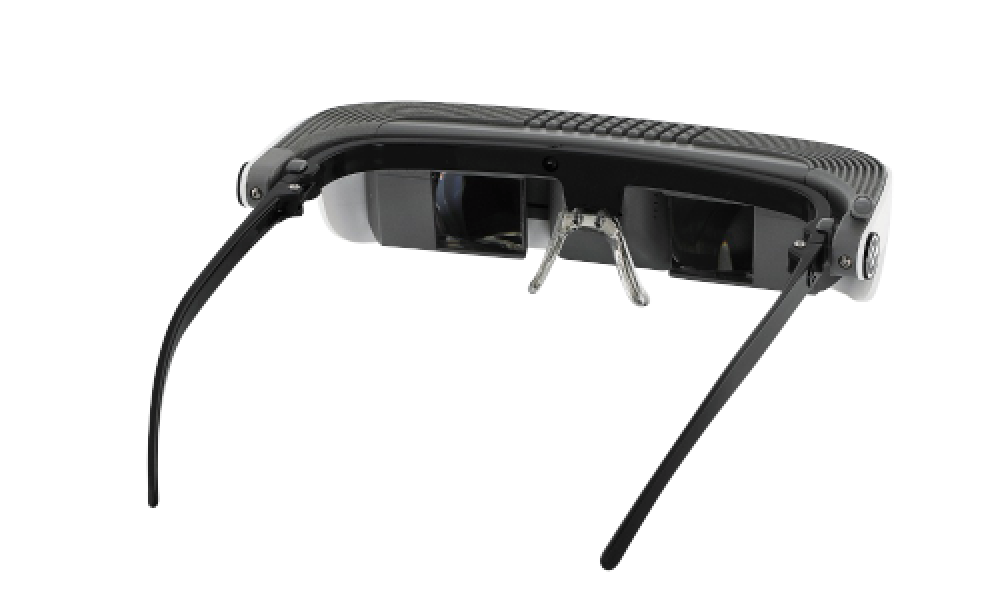eSight glasses facing the 1:00 position, assistive technology for the visually impaired