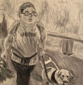 Drue's charcoal drawing of herself and her guide dog.